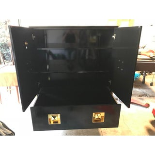 Jonathan Adler Black Crawford Cabinet With Gold a Crystal Details Preview