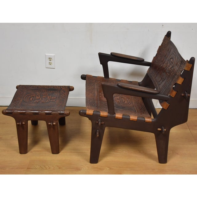 Angel Pazmino Leather Lounge Chair And Ottoman For Sale - Image 5 of 11