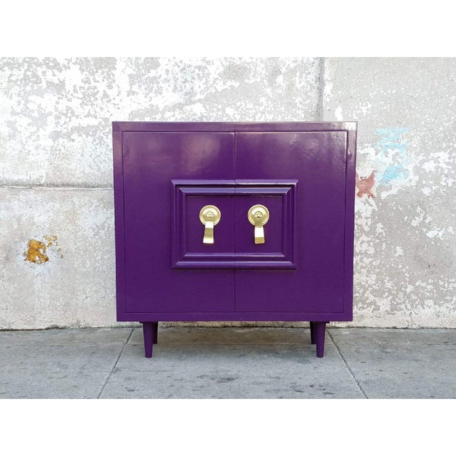 Hollywood Regency Deep Purple Vintage Lacquered Bar Cabinet - Image 2 of 8