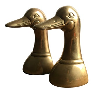 Mid Century Modern Molded Brass Duck Head Bookends - a Pair For Sale