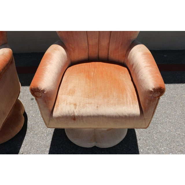 Velvet Highback Swivel Chairs - A Pair - Image 4 of 10