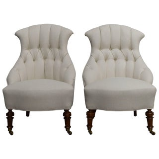 Pair of Vintage Swedish Emma Tufted Slipper Chairs, circa 1900's For Sale