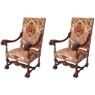 Pair of Antique Louis XIV Style Walnut Wood Armchairs from France For Sale