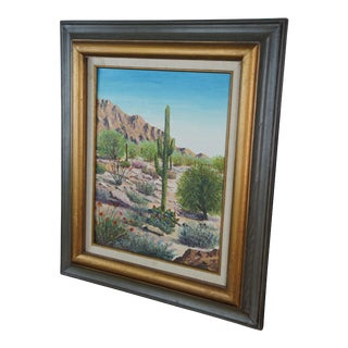 Vintage Mid-Century Margee Shepard Arizona Desert Landscape Original Oil on Canvas Painting For Sale