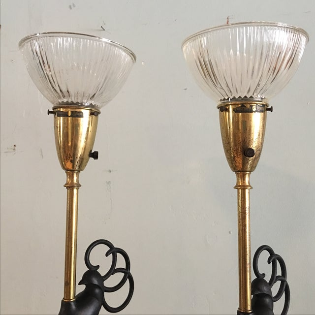Peacock Table Lamps by Rembrandt - A Pair For Sale - Image 5 of 7