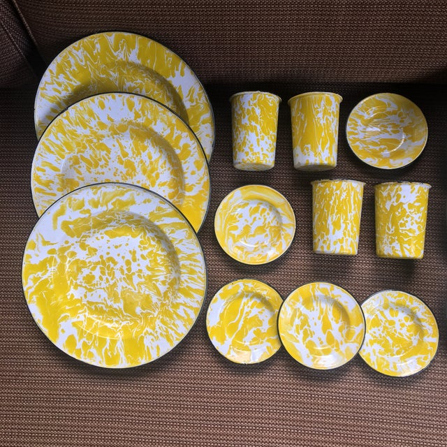 Vintage Yellow Enamelware - Set of 15 For Sale - Image 10 of 10
