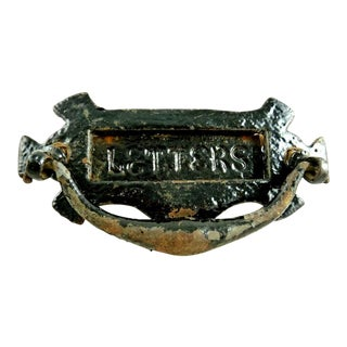 Antique English Door Knocker Letter Slot / Cast Iron Architectural Element / Traditional Door Hardware / Renovations For Sale