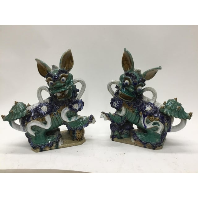 Early 20th Century Vintage Vietnamese Ceramic Foo Dog Figurines- A Pair For Sale - Image 13 of 13