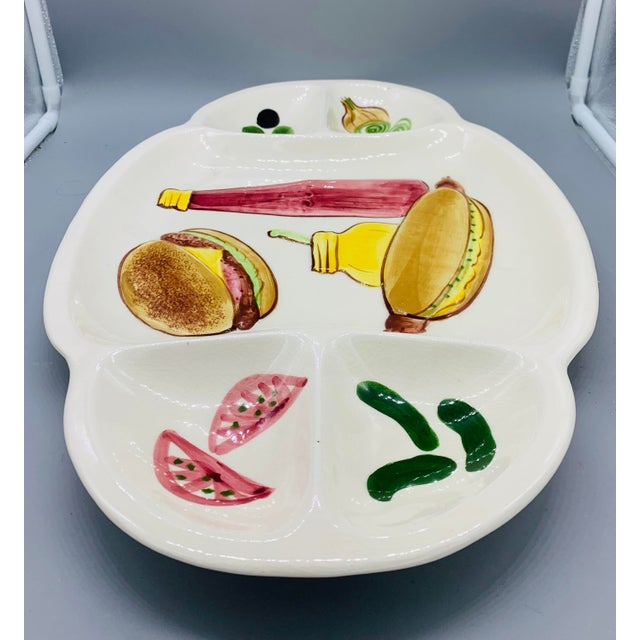 Americana Los Angeles Potteries Bbq Grill Sectional Platter/ Vintage Hamburger and Hot Dog Serving Plate For Sale - Image 3 of 11