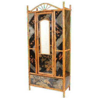 Bamboo & Chinoiserie Decorated Armoire