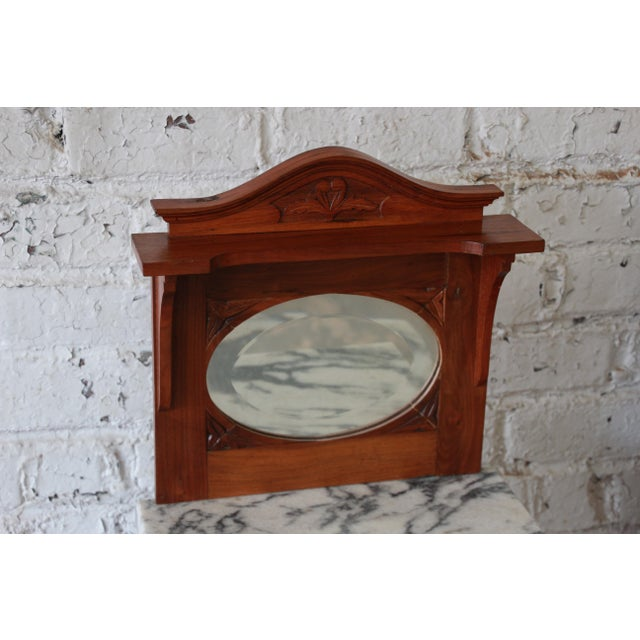 Victorian Walnut & Marble Nightstands - a Pair - Image 10 of 11