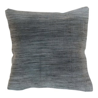 Gray Over-Dyed Hand-Knotted Wool Rug Pillowcase For Sale