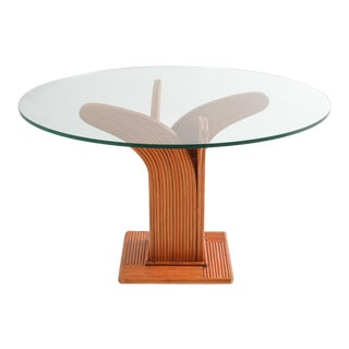 Vivai Del Sud Tropicalist Bamboo Rattan Dining Table by Mariani & Purini - 1970s For Sale