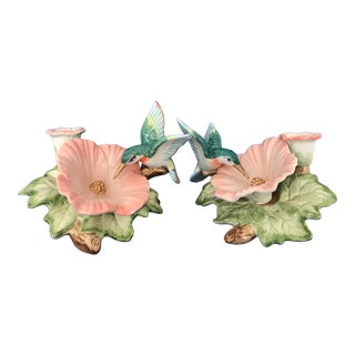 1980s Vintage Fitz and Floyd Candle Holders With Hummingbirds and Hibiscus - a Pair For Sale