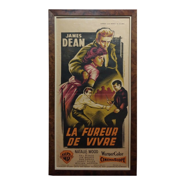 James Dean -Rebel Without a Cause -1955 Vintage French Poster For Sale