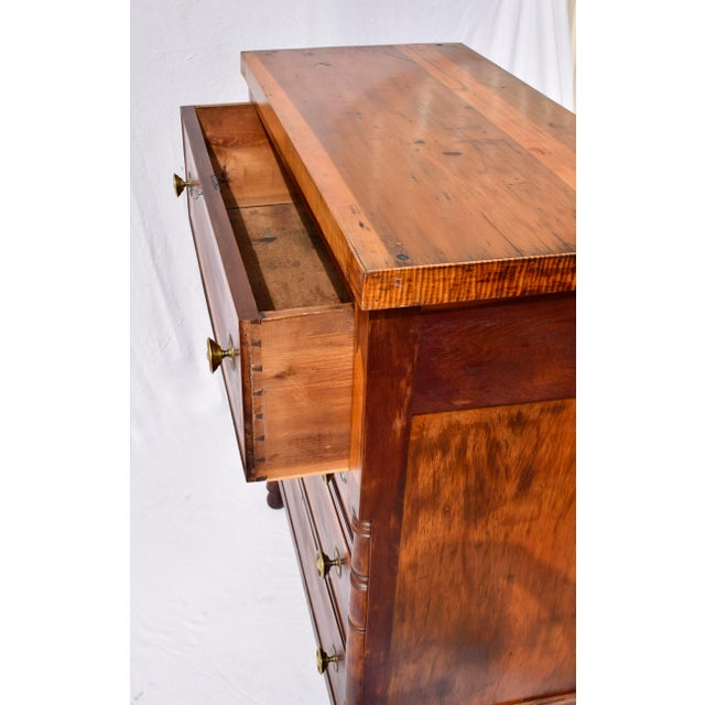 Antique Sheraton Cherry and Stripe Maple Chest of Drawers, Dresser For Sale - Image 11 of 12