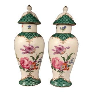 Porcelain English Floral Ginger Jars - a Pair