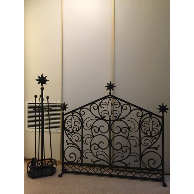 Art Deco Iron Fireplace Screen & Utensil Set For Sale - Image 3 of 12