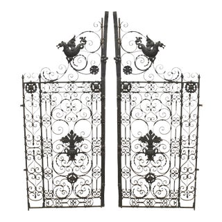 Italian Renaissance Black Iron Gates - a Pair For Sale