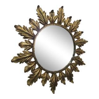 Vintage Gold Gilt Metal Sunburst Mirror For Sale