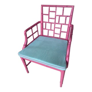 Pink Chinese Chippendale Chair With Custom Cushion For Sale