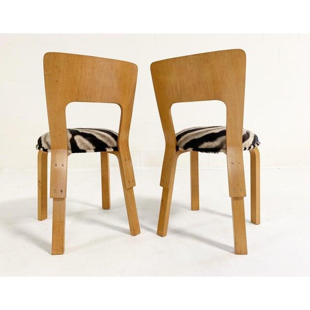 Tan Alvar Aalto Model 66 Chairs in Zebra Hide, Pair For Sale - Image 8 of 9