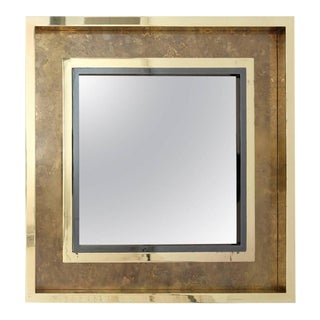 Brass Acid Etched Maison Jansen Mirror