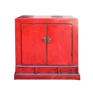 Chinese Distressed Red Lacquer Vintage Style End Table Nightstand