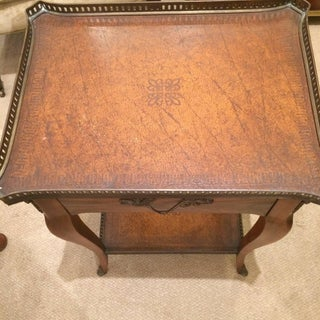 Rich Theodore Alexander Wood and Leather Side Table Preview