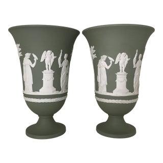 Wedgwood Sage Green Jasperware Mantle Vases - a Pair For Sale