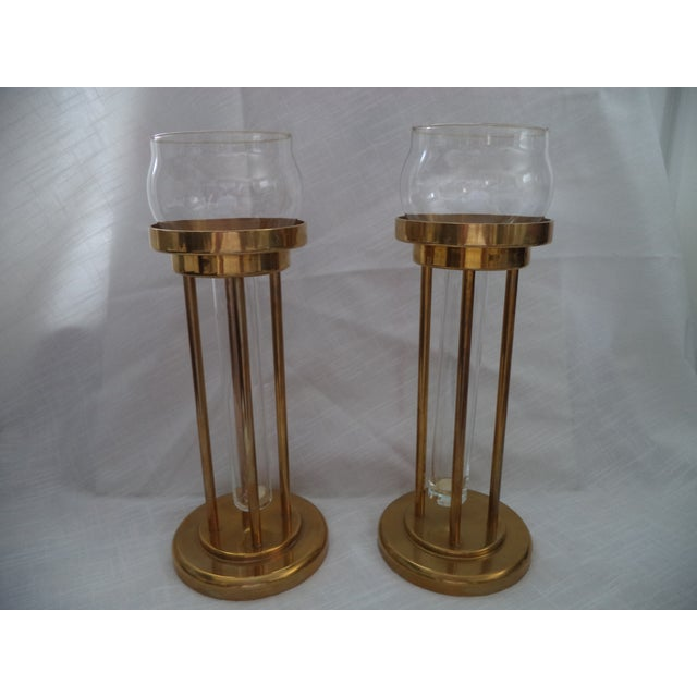 Vintage Mid-Century Brass and Glass Floating Candle Holders - a Pair For Sale - Image 10 of 10