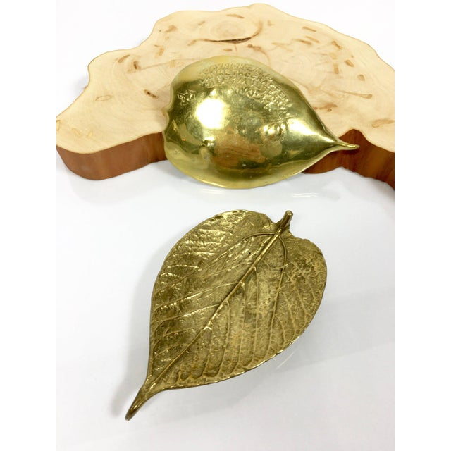 1948 Vintage Virginia Metalcrafters Brass Leaves Trinket Dishes - Set of 2 For Sale In Detroit - Image 6 of 9