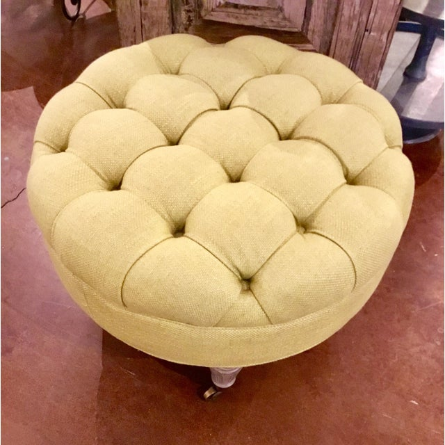 Currey & Co. Tufted Parlor Ottoman - Image 3 of 6