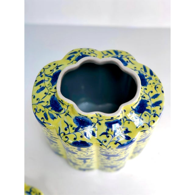 Chinoiserie Urn in Yellow and Blue With Lid For Sale - Image 11 of 13