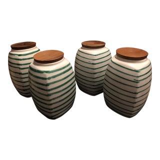 Gmundner Keramik Dizzy Green Canisters - Set of 4