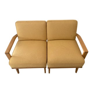Rare Vintage Mid-Century Modern Wood and Upholstered Sectional Loveseat in Style of Haywood Wakefield For Sale