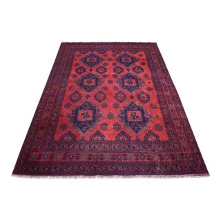 Red Geometric Afghan Andkhoy Wool Hand Knotted For Sale