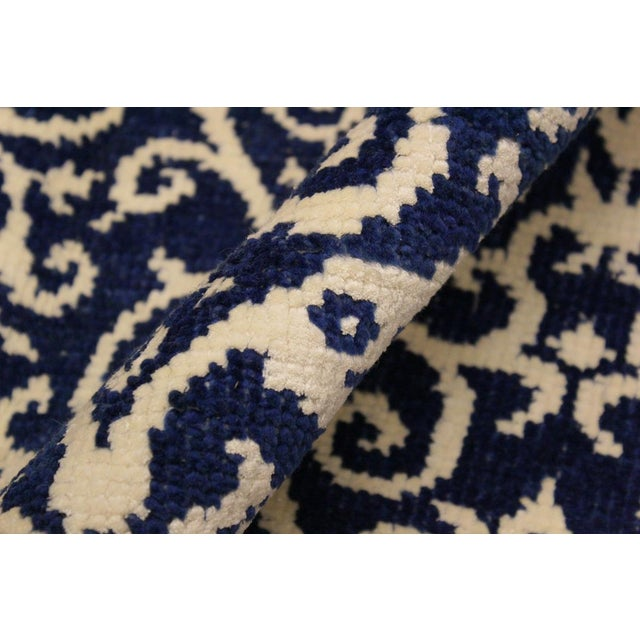 2010s Cryena Modern Tiffiny Blue/Ivory Wool Rug - 5'2 X 7'2 For Sale - Image 5 of 8