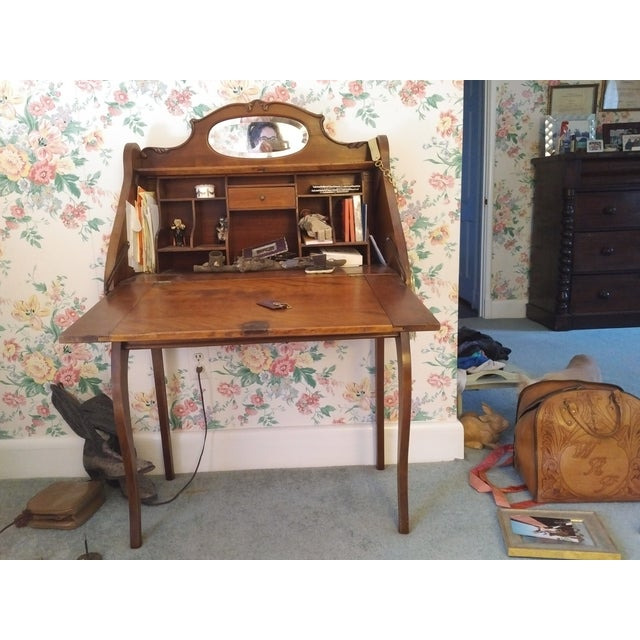 Early 20th Century Cherry Petite Antique Writing Desk For Sale - Image 5 of 10