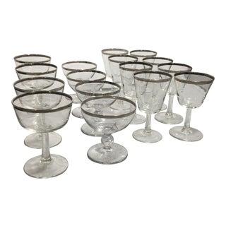 Mid-Century Platinum Rim Barware Glasses - Set of 16 For Sale