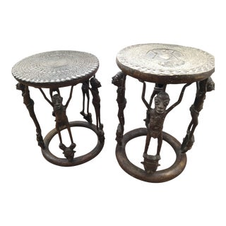 African Tables/Stools With Male Supporting Figures - a Pair For Sale