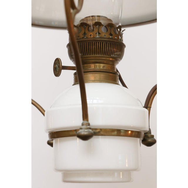 Rustic European Antique French Milk Glass Hall Lantern For Sale - Image 3 of 11