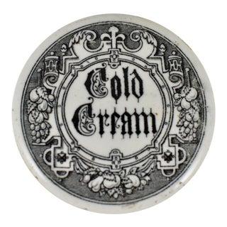 English Victorian Gothic Cold Cream Transfer Printed Ceramic Vanity Pot For Sale