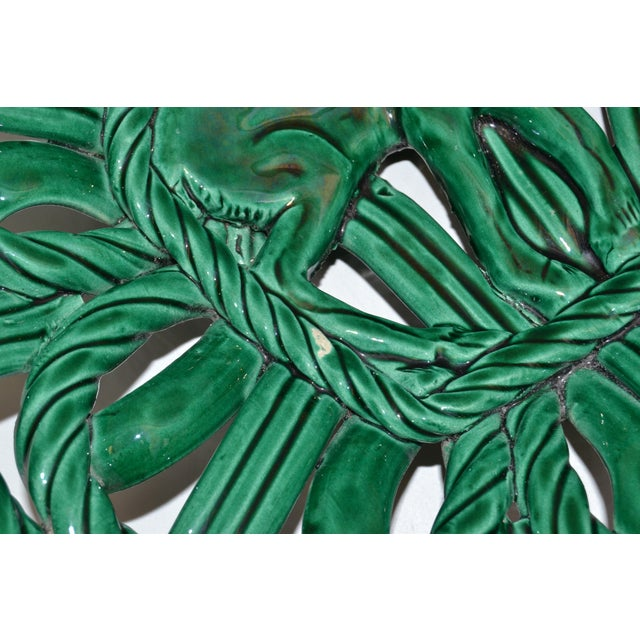 Vallauris France Glazed Woven Ceramic Basket Emerald Green Bambi 1955, Pottery For Sale - Image 9 of 13