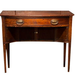 English Mahogany Dressing Table With Single Drawer Above Duel Sliding Door Storage Below, Tapered Legs. For Sale