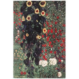 Vintage Flower Garden Design Scandinavian Rug After Gustav Klimt For Sale