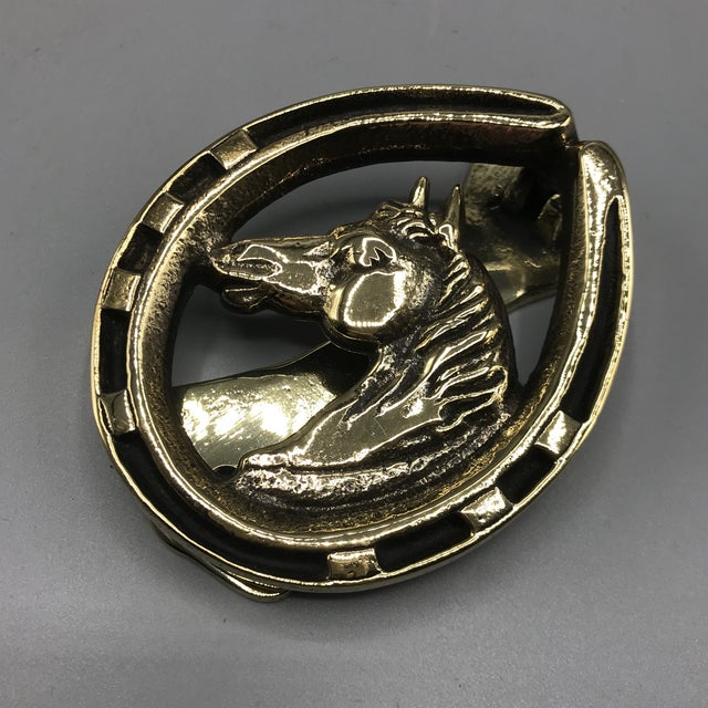 English Equestrian Brass Door Knocker For Sale - Image 4 of 8