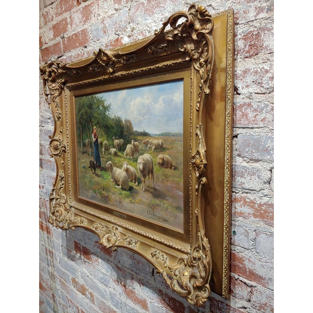 Gold Cornelius Van Leemputten-Flock of Sheeps-Beautiful 19th C. Oil Painting For Sale - Image 8 of 10