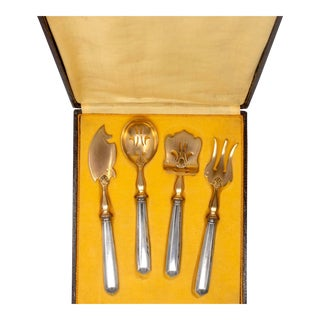 French Sterling Silver Vermeil Hors D'Oeuvres Boxed Set For Sale