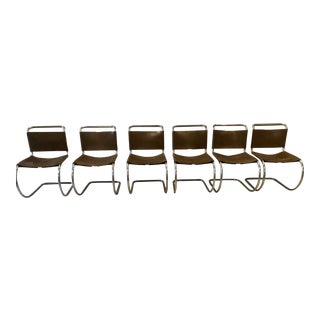 Mid Century Mies Van Der Rohe Bauhaus Modern Knoll Mr10 Chairs - Set of 6 For Sale